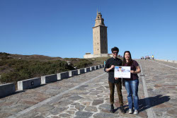 "The first winners of the online campaign ""One hour away from you"" visit A Coruña"