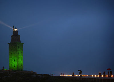 The Tower of Hercules will be lit up in green to celebrate Saint Patrick´s Day because of the legend according to which Ireland was discovered from its top