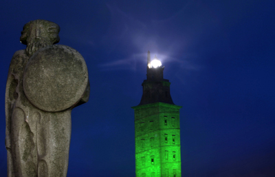 The Tower of Hercules will be lit up in green on Saint Patrick´s Day to remember the legend according to which Ireland was discovered from its top